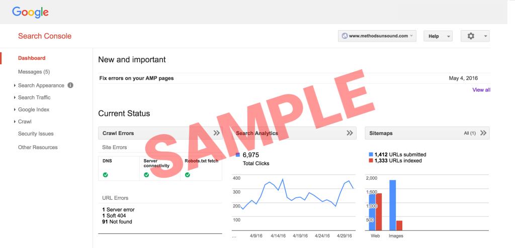 google search console - sample